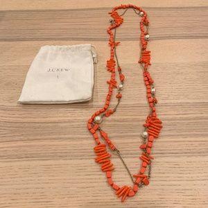 J. Crew Coral Double Necklace